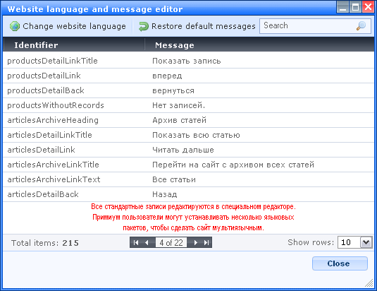 WebNode Language & Message editor